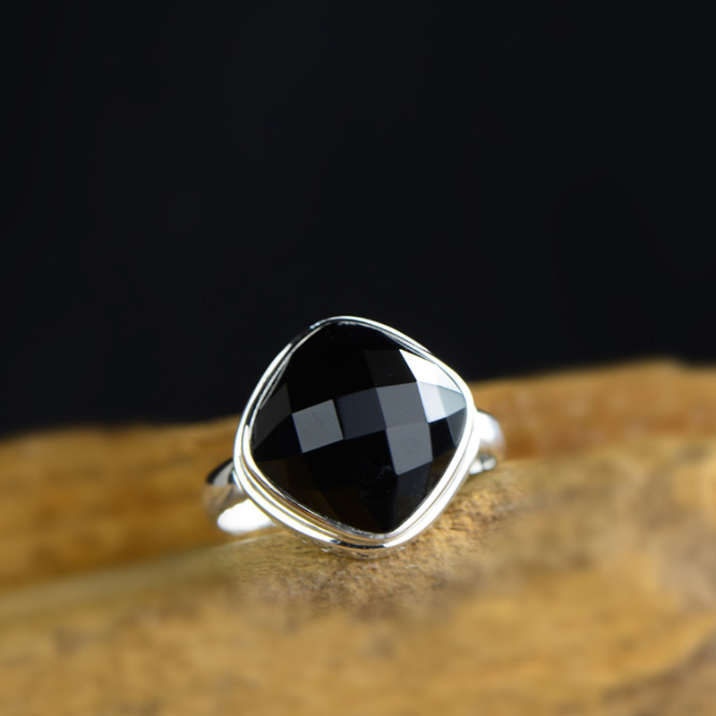 Genuine Sterling Silver Ring 925 For Women Black Agate Designer Jewelry Luxury Womens Rings Natural Stone Anillo Compromiso