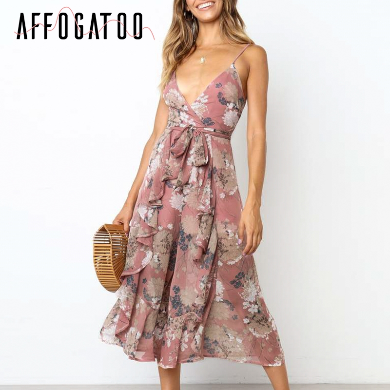 Affogatoo Sexy v-neck floral print women bohemian short   jumpsuit   Casual summer spaghetti strap romper wide leg playsuit overalls