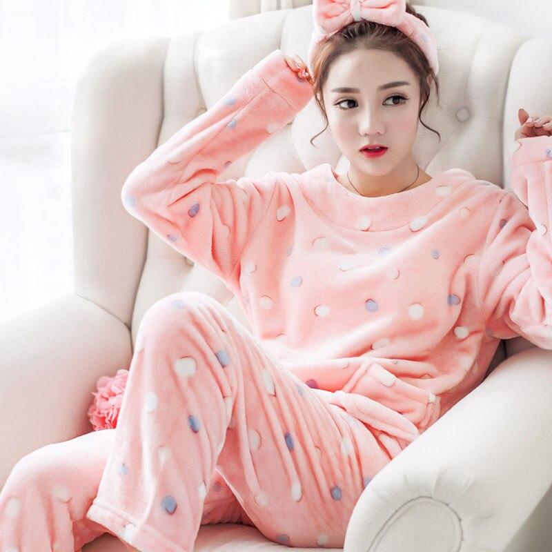 Autumn Casual Soft Women   Pajama     Sets   Flannelette Brushed Cotton Long Sleeve Cute Cartoon Warm Winter Sleepwear Women Pyjama