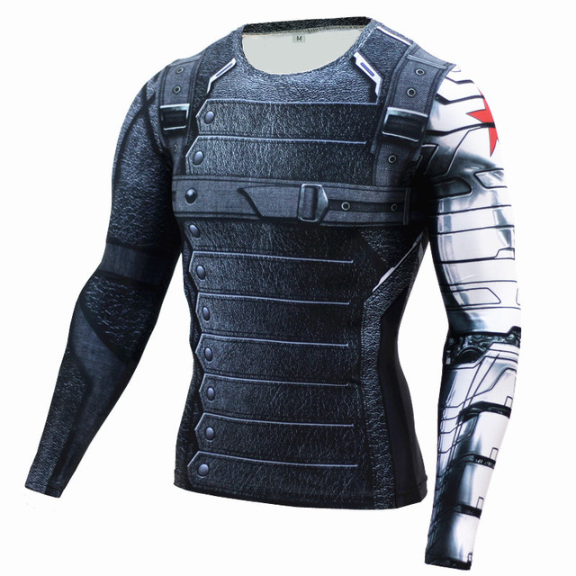 d7c6f01695a9 Casual Tights Compression Shirt Captain America 3 Winter Soldier T Shirt  Motion Fitness Long Sleeve T-Shirt Men Cosplay Costume