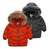 2018 Winter Warm 3 8 9 10 11 12 Years Teenager Thickening Faux Fur Hat Medium Long Kids Baby Boys Black Hooded Down Jacket Coat