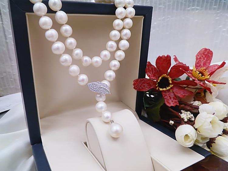 Vendita calda 85 cm 9 10mm perla della catena del maglione micro intarsio zircone collana lunga gioelleria raffinata e alla moda-in Collane girocollo da Gioielli e accessori su  Gruppo 2