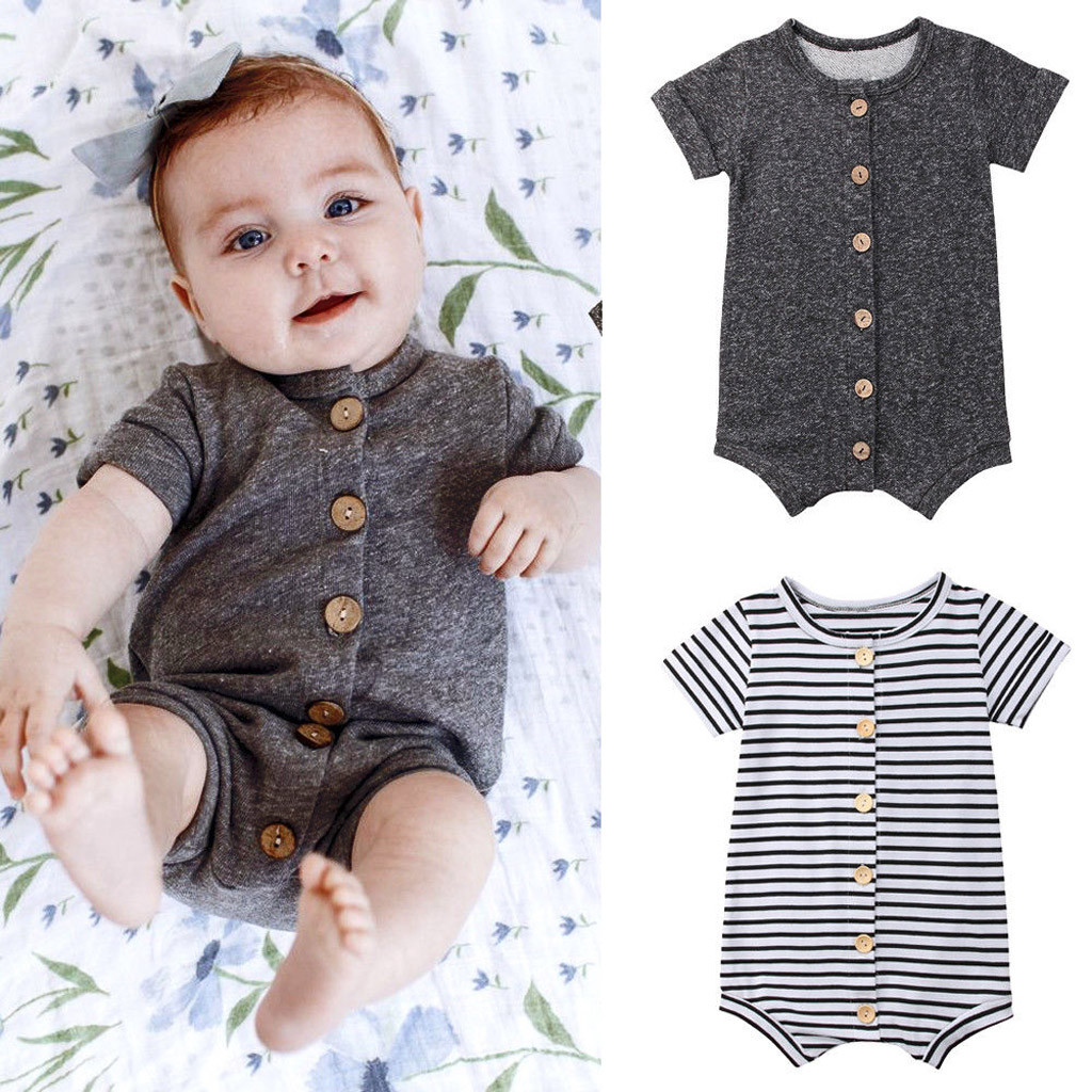 Toddler Infant Baby Kids Boys Girls Striped Romper Jumpsuit Outfits Clothes