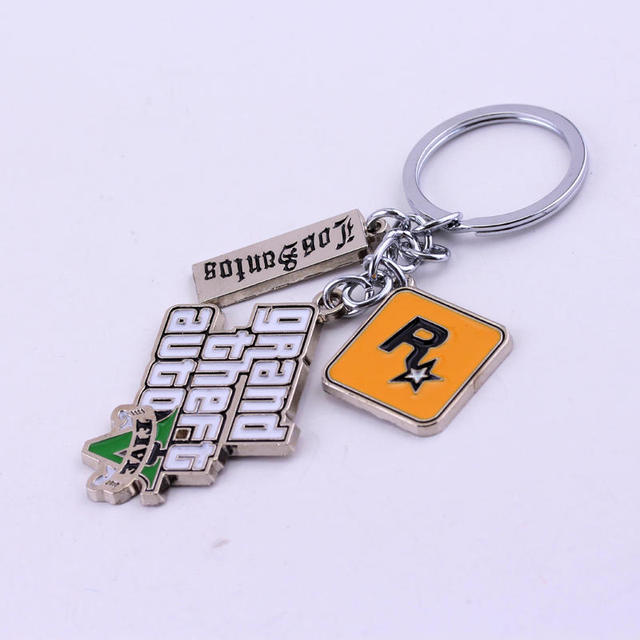 Game PS4 GTA 5 Grand Theft Auto 5 Keychain Key Chain For Men Fans Letter Grand Theft Autob Rock star Keychain Key Buckles 4