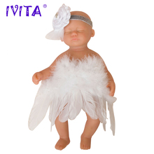 IVITA 1800g 15inch Eyes Stängd Sömn FULL BODY SILICONE Reborn Baby Doll Girl Toys With Clothes
