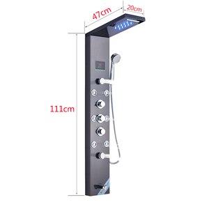 Image 5 - Душевая панель Senlesen из нержавеющей стали, светодиодный Водопад, душевая головка, Керамический клапан, смеситель для воды, для ванной комнаты