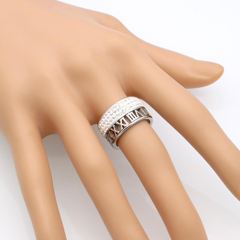 12mm szerokość 3 rzędy kryształowe pierścienie dla kobiet anel - Modna biżuteria - Zdjęcie 6