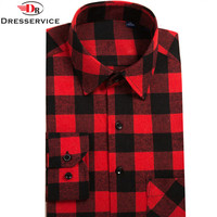 2016 Hot New Men Plaid Long Sleeved Casual Shirts Flannel Slim Fit Chemise Homme Camisa Social