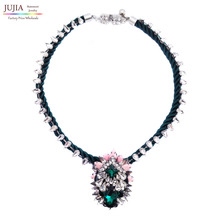 2017 New High Quality bib fashion luxury choker design crystal pendant necklace  necklaces & pendants statement jewelry