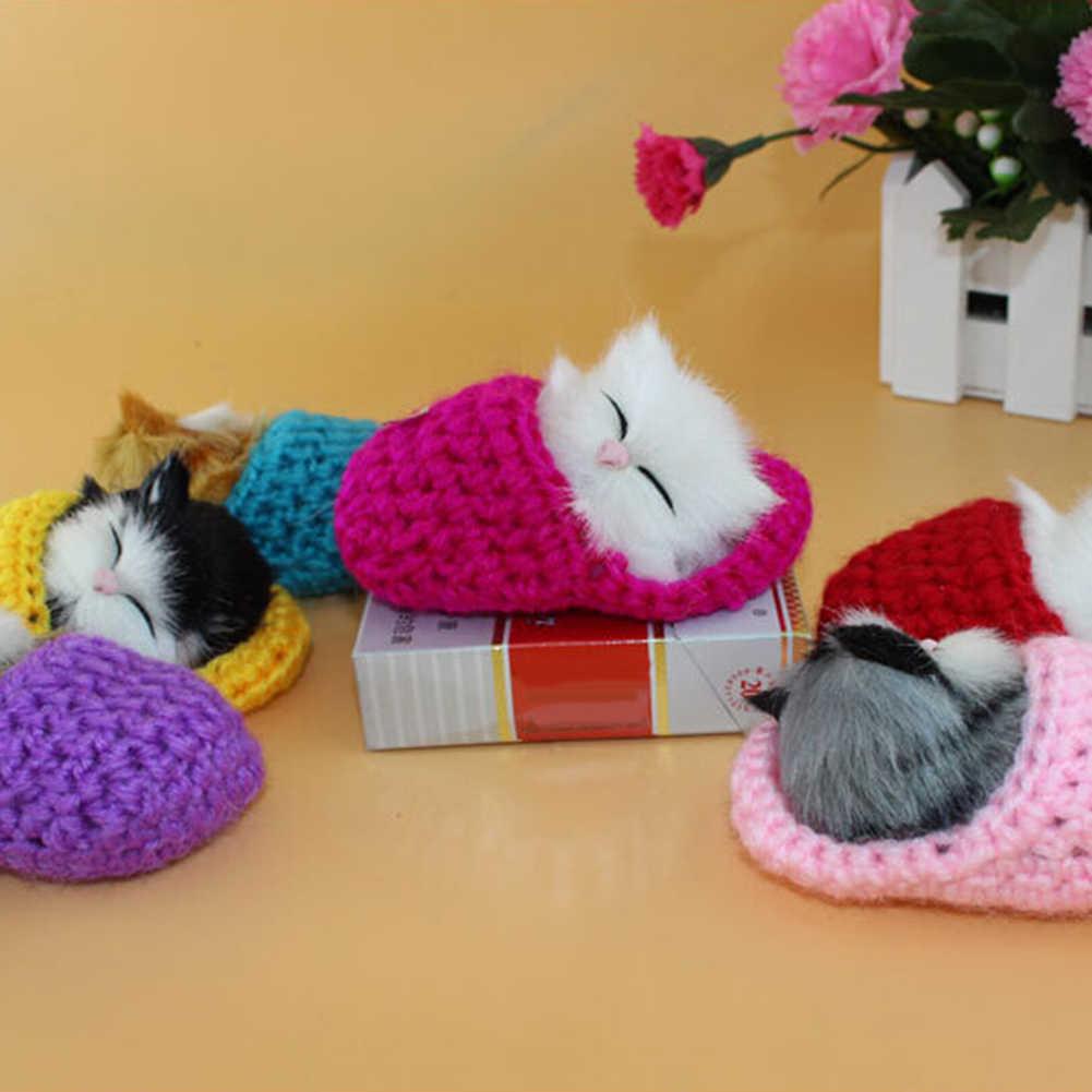 Gato bonito Do Sono Chinelos Sounding Simulação Boneca de Pelúcia Brinquedo do bebê Brinquedo Animal Decoração Crianças Brinquedos Menina Presente de Aniversário para Crianças