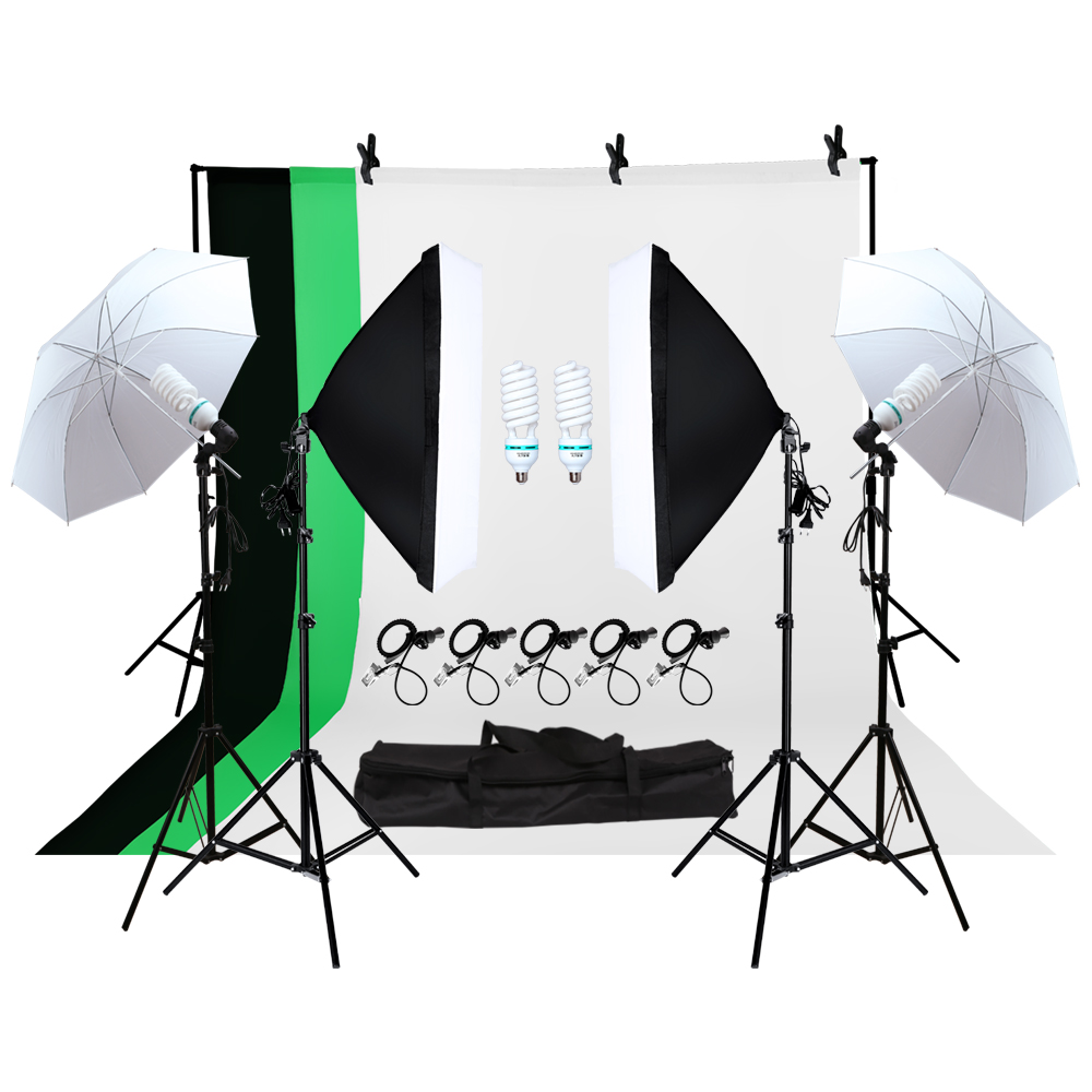 4 Pieces 135w Bulb Photo Studio Soft Box 4 Light Stand 2 Soft box Photographic Lighting