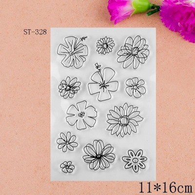 2017 new 11x16cm Flower Scrapbook DIY Photo Album Account Transparent Silicone Rubber Clear Stamps