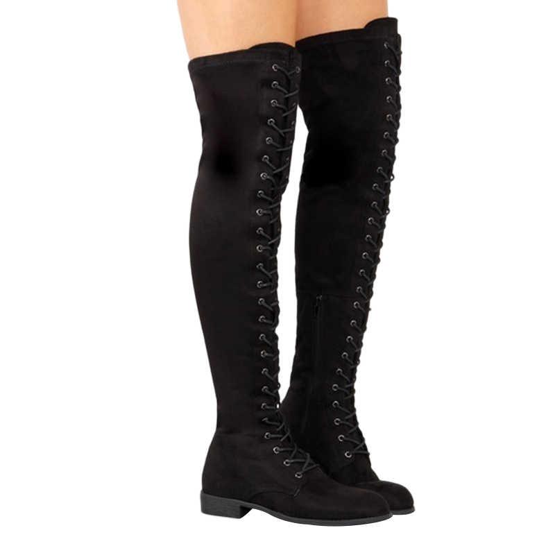 Giày Bốt Nữ Phối Ren Over-The-Đầu Gối Giày Mùa Đông Giày Nữ Đùi Cao Cấp Giày Da Lộn Dài Giày nữ Giày Plus Size 43