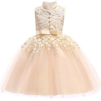 e5da318ba Verano 3-10 años niñas elegante hermosa princesa cumpleaños fiesta vestido  niños flor encaje boda vestido sin mangas