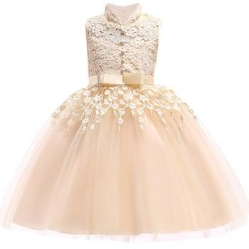 22ff2c9b4 Verano 3-10 años niñas elegante hermosa princesa fiesta de cumpleaños flores  de los niños del vestido del cordón sin mangas del vestido de boda