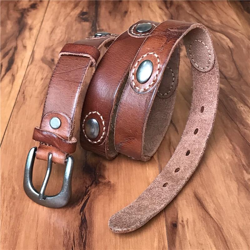 Genuine Leather Metal   Belts   For Women Ceinture Femme Vintage Punk Rivet Women   Belt   Thin Cowgirl   Belt   Female Cinto WBT0074