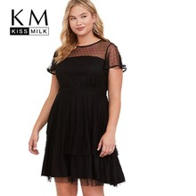 Kissmilk Plus Size Women Dress Simple Sexy Perspective Mesh Stitching Pleated Black