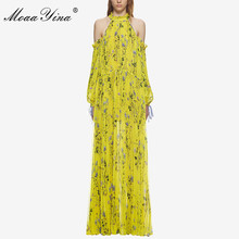 MoaaYina Fashion Yellow Floral Print Dresses 2018 Women High Quality Off Shoulder Summer Pleated Holiday Party Maxi Long Dress
