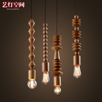Creative Industrial Edison Vintage Hanging Lamp Loft Logs Wooden beads Pendant Lamp Bar Coffee Shop