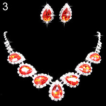 Nigerian Prom Wedding Bridal Crystal Rhinestone Waterdrop Necklace Earring Jewelry Set inlay Luxury Bridesmaids Jewelry Sets(China)