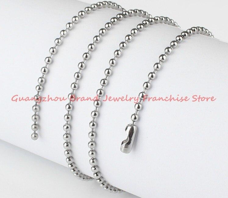 Vente en gros ou au détail! 50 mètres bricolage boule perle chaîne argent acier inoxydable 5mm argent/or pendentif collier suspendu, de haute qualité