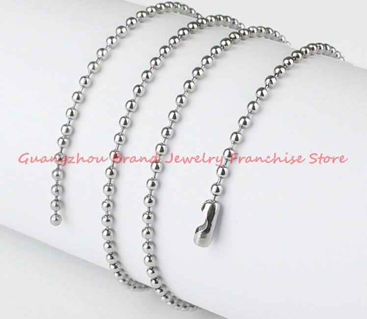 Wholesale Or Retail! 50 METER DIY Ball Bead Chain Silver Stainless Steel 5mm Silver/Gold Hanging Pendant Necklace,High Quality high quality 50 meters 1 5mm 1 7mm stainless steel wire rope