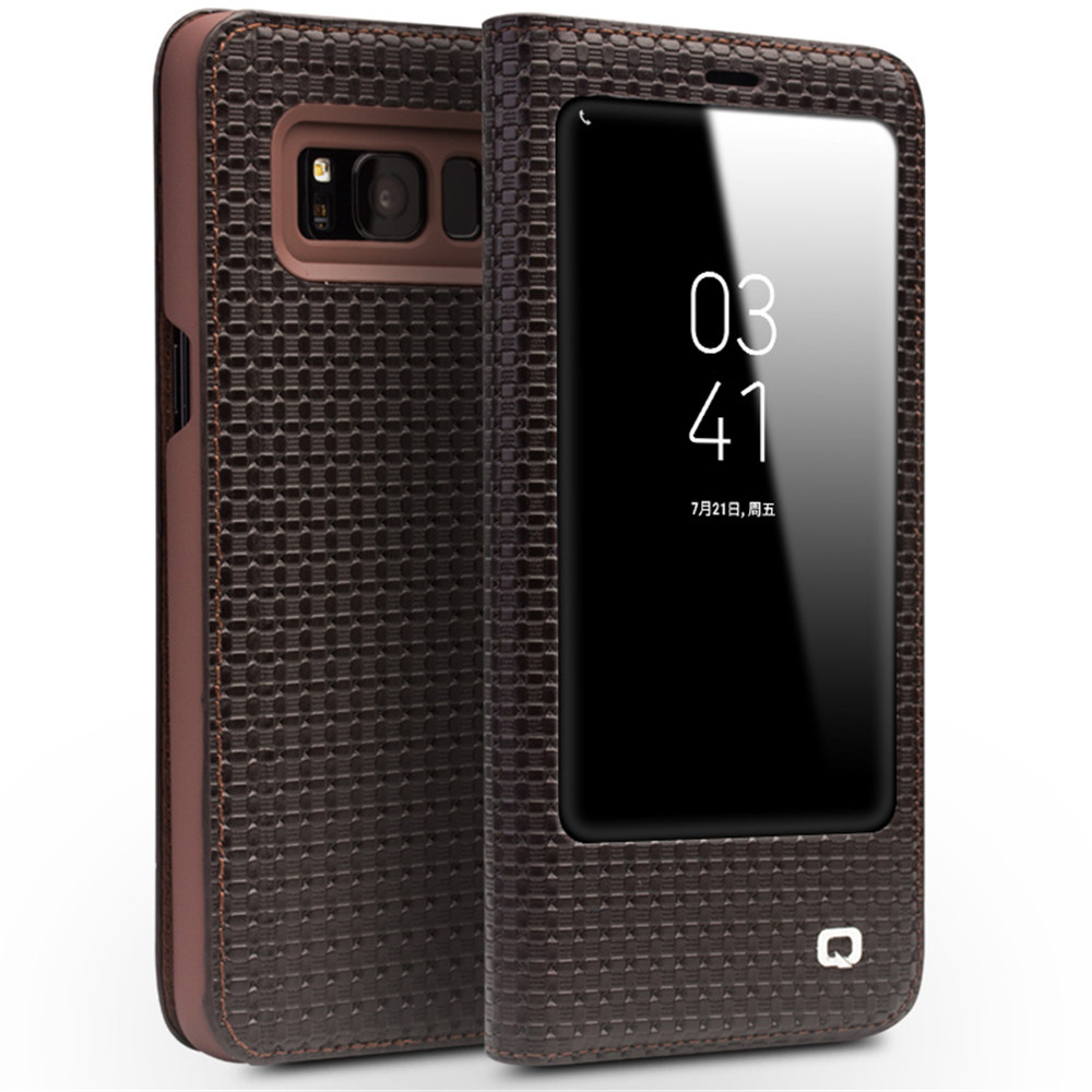 QIALINO Genuine cowhide Flip Bag <font><b>sleep</b></font> wake function for Samsung S8 Leather Bag Flip Wallet Ultra Thin Cover for Samsung S8