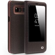 Qialino натуральной коровьей Флип сумка функции сна разбудить для Samsung S8 кожаная сумка флип бумажник ультра тонкий чехол для Samsung S8
