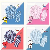 New Arrival Kpop BTS Bangtan Boys BT21 cartoon version v suga Same Harajuku pajamas long sleeve shirt nighty men women bedgown