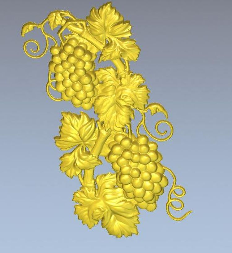3d Model Relief  For Cnc In STL File Grapes