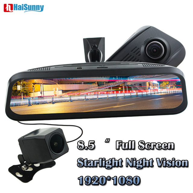 "HaiSunny 8.5"" FULL TOUCH SCREEN Display FHD 1080P Car DVR Streaming Rear View Mirror Monitor Support GESTURE SENSOR 128G Card"