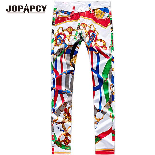 Hip Hop Rck Boate Dança Calças Dos Homens de Moda Impresso Zipper Slim Fit Calças Retas Plus Size Pantalones Hombre MYB0148