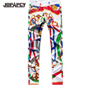 Hip Hop Rck Nightclub Dancing Pants Men Fashion Printed Zipper Slim Fit Trousers Straight Plus Size Pantalones Hombre MYB0148