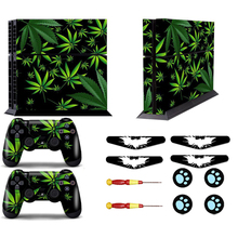 Green Leaf Vinyl Skin Decal For PS4 Skin Sticker for Sony PlayStation4 Console Controller Skins Led Light Bar For PS4 Thumbgrips(China)