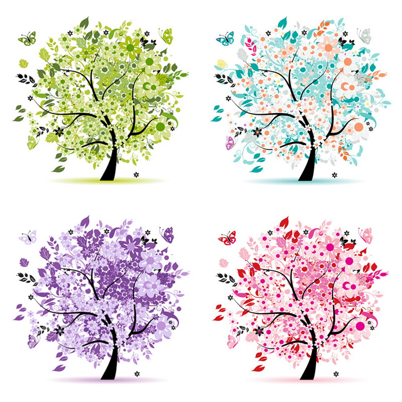 ᑎ‰Los cuatro temporada árboles DIY diamante pintura casa decoración ...