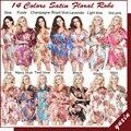 LP002 Свадьба Невеста Невесты Цветочные Одеяние Атласная Район Халат Ночная Рубашка Для Женщин Кимоно Пижамы Цветок Плюс Размер