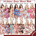 LP002 Da Noiva Do Casamento Da Dama de honra Floral Robe de Cetim Rayon Roupão Camisola Para As Mulheres Kimono Sleepwear Flor Plus Size