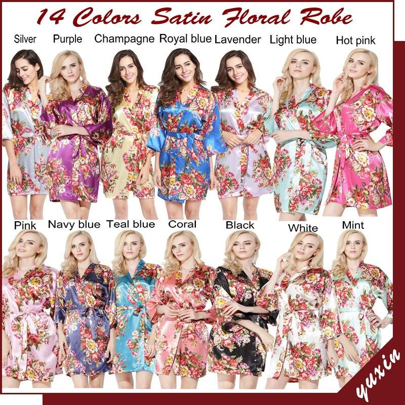 0efaa0e9d2 LP002 Wedding Bride Bridesmaid Floral Robe Satin Rayon Bathrobe Nightgown  For Women Kimono Sleepwear Flower Plus Size -in Robes from Women s Clothing    ...
