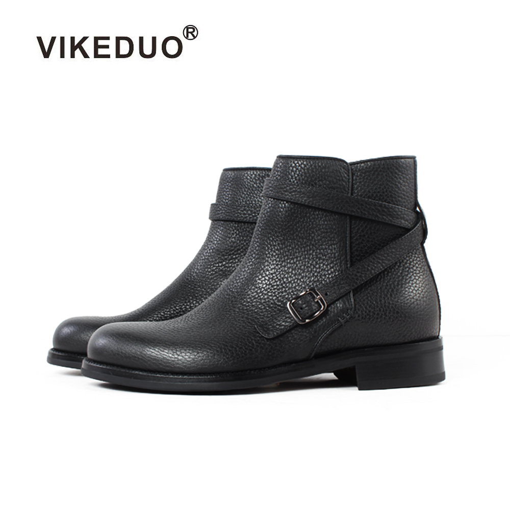 Vikeduo 2018 Handmade Designer Tactical Military Fashion Luxury Casual Heel Ankle Elegant Genuine Leather Snow Winter Mens Boots vikeduo 2018 classic custom handmade fashion luxury office genuine leather boots designer winter snow crocodile dress men boots