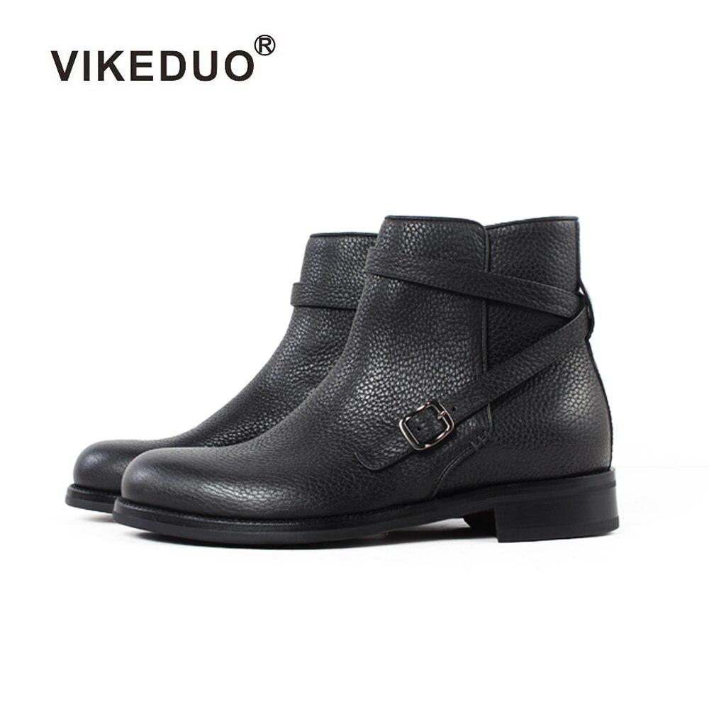 Vikeduo 2019 à la main Designer tactique militaire mode luxe décontracté talon cheville élégant en cuir véritable neige hiver hommes bottes