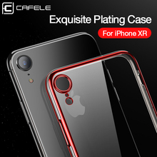 CAFELE Plating Case for iPhone 11 Pro Max XR XS Luxury Transparent TPU Soft Plated Phone Back Shell Silicone Cover