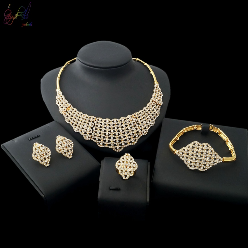 2018 Hot Sell Fashion Zinc Alloy Jewelry Factory Wholesale Gold-color Ladies Four Jewelry Sets2018 Hot Sell Fashion Zinc Alloy Jewelry Factory Wholesale Gold-color Ladies Four Jewelry Sets