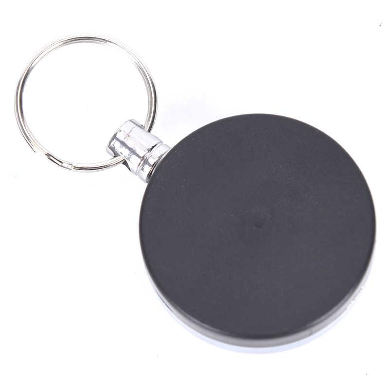 Único Metal plateado retráctil tirón llavero carrete ID insignia cordón nombre tarjeta insignia titular carrete Clip de cinturón de retroceso