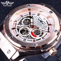 Winner Sport Luxury Series Matte Scrub Silicone Rubber Band Men Watch Top Brand Luxury Automatic Skeleton