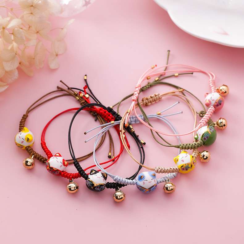 2019 New Handmade Colorful Rope Lucky Cat Adjustable Bracelet For Women Girls Birthday Gifts Sweet Tassel Fashion Bangles Femme