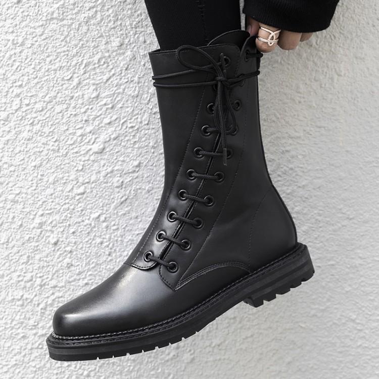 Britannique Femmes Upper Chic Croix Bout Rond Militaire Liée Upper D'hiver Bottes Leather Chaussures Femme Botas Pour Côté Sangle Faible Cheville Talon Style suede sCQrthdx