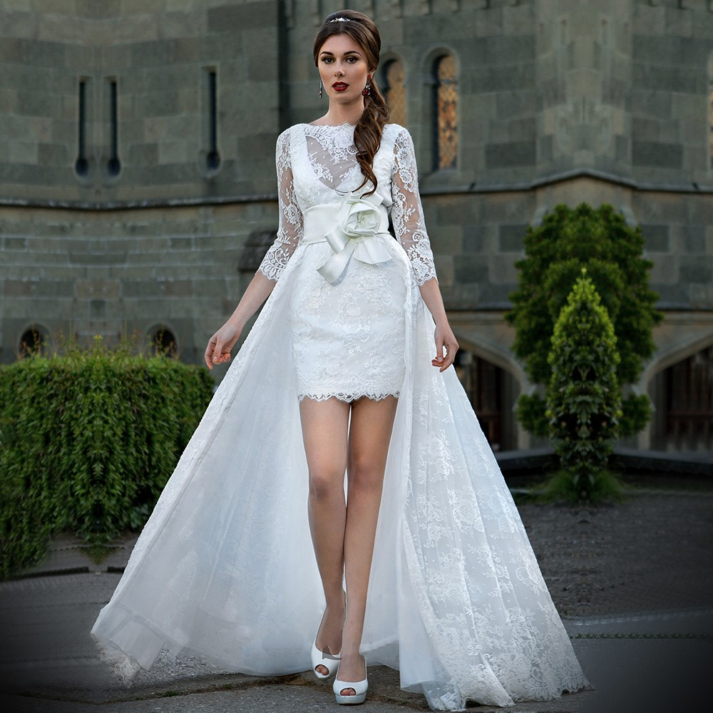 Turtleneck Wedding Dress: 2017 The Bride Turtleneck 3/4 Sleeve Satin Sexy Unbacked