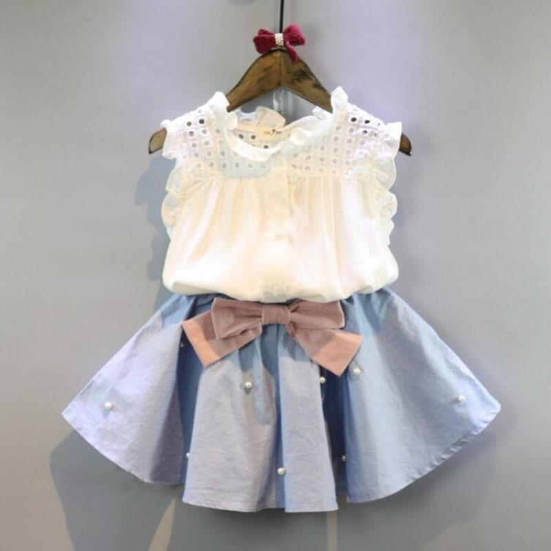 Baby Girl Clothing Outfit Set Lace Sleeveless Tee Floral Top +Skirts With Bow Outwear For 2-8Year Children