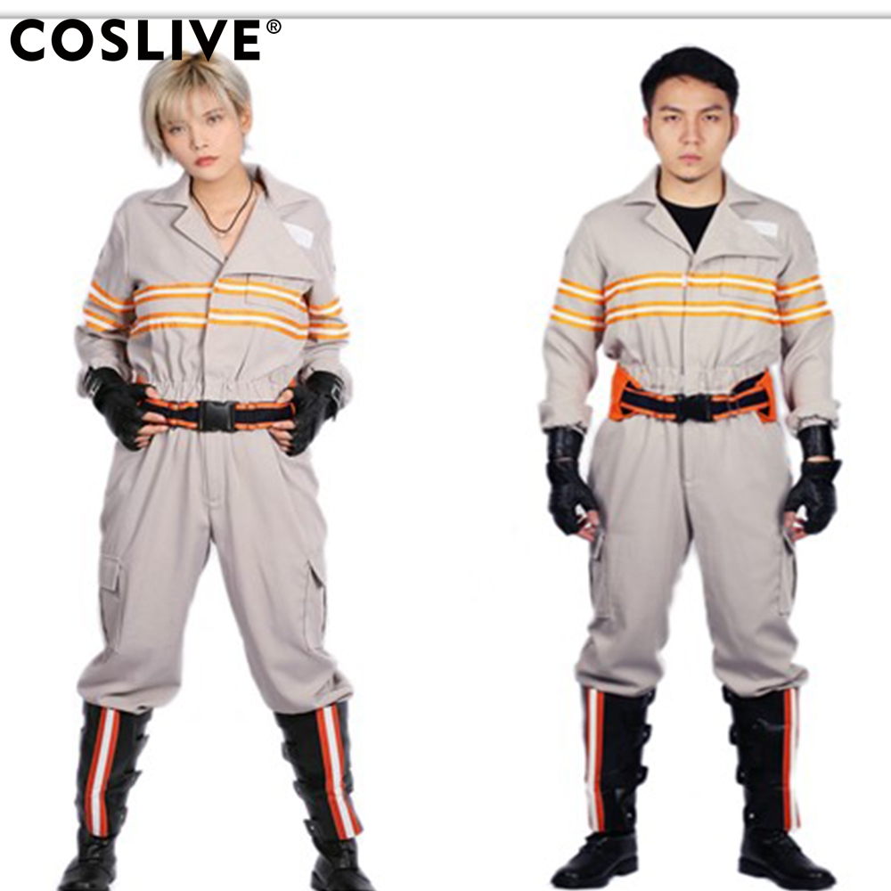 Coslive Ghost Costume Deluxe Busters Jumpsuit Embroidery Cotton For Halloween Cosplay Ghostbusters Costume For Adult