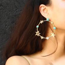 Star Stud Earrings 2019 New Fashion Exaggerated Stars Geometric Earrings Bohemian Style Retro Star Stud Earrings retro style sand surface ball shaped alloy stud earrings